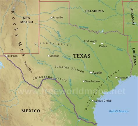 physical texas map physical map of texas