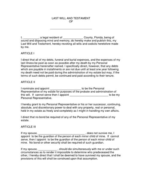 Last Will And Testament Template Florida best photos of last will and testament form form last