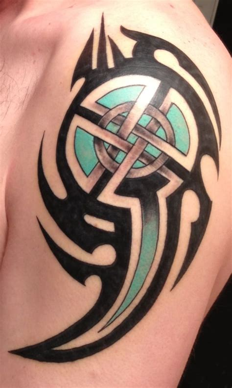 celtic tribal tattoo celtic cross with tribal shield tattoos