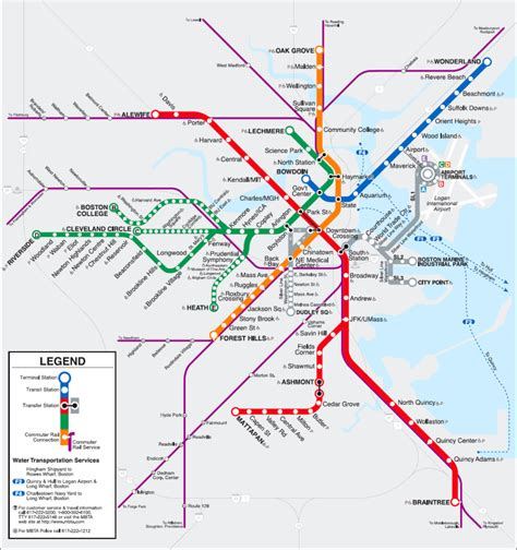 boston map with t stops boston t map