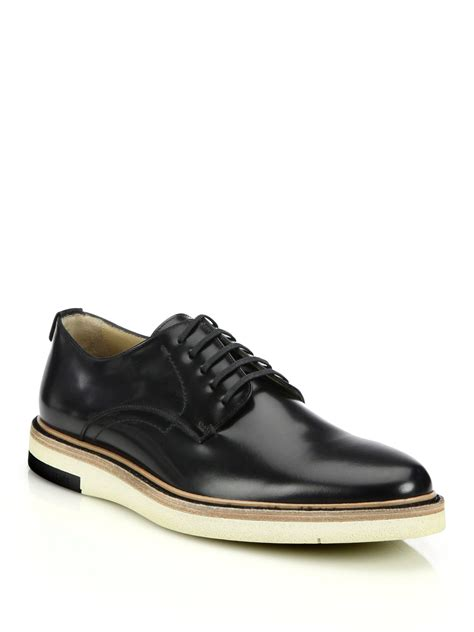 fendi sneakers for fendi leather lace up shoes in black for lyst