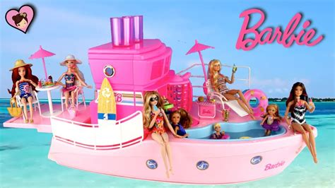 barbie pool boat barbie doll pink dream boat with toy pool chelsea