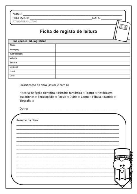 Ficha de registro de leitura para livros | Registros de