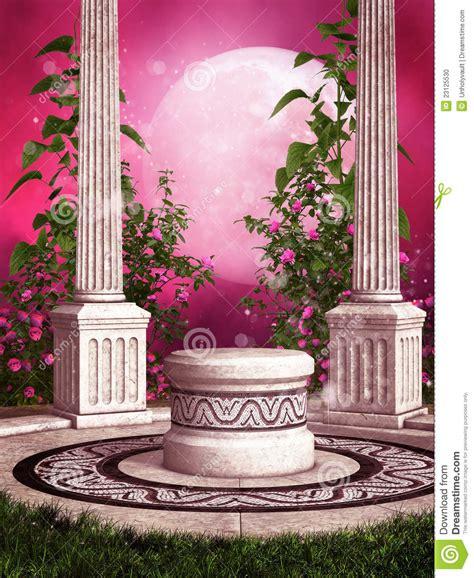 Garden Of Pink pink garden with columns stock illustration image