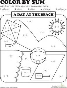 sum by color summer colours worksheets and beaches on