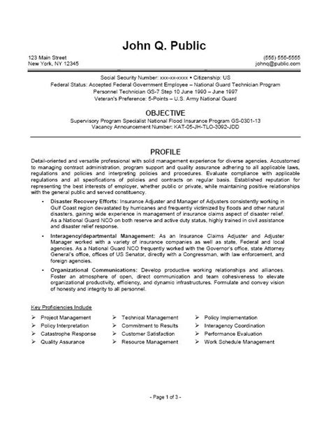 Sle Federal Resumes by Sle Federal Resumes 2011 28 Images Administrative Officer Sle Resume Free Template For Usa