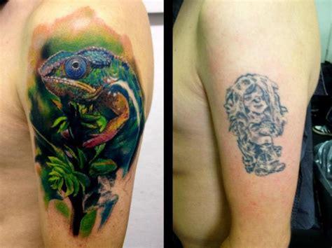 shoulder cover up tattoos shoulder cover up chameleon by tribo