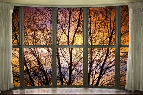 window with a view sunset into the night bay window view window view art