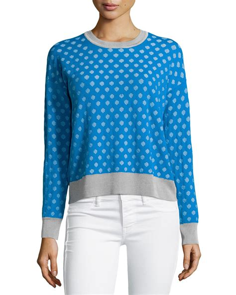 hexagon pattern clothes catherine malandrino julie hexagon pattern sweater in blue