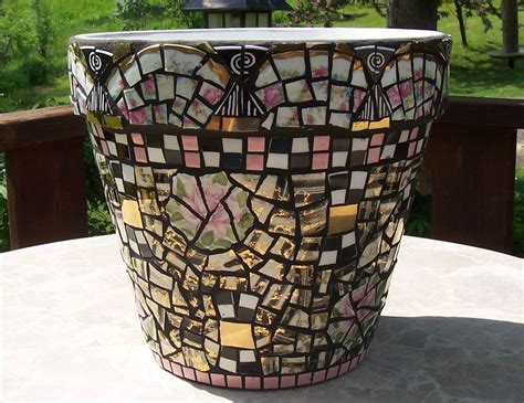 mosaic flower pot pink and black