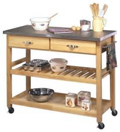 stainless steel and wood kitchen cart transitional