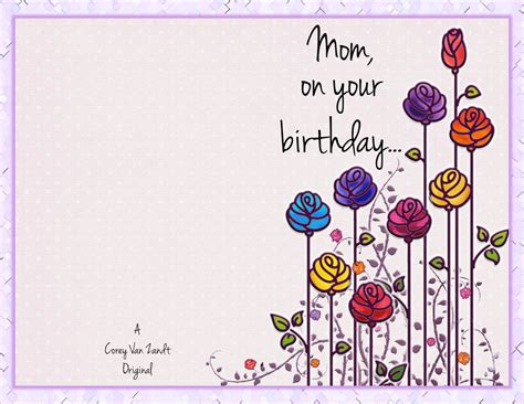 printable card for mom happy birthday mom cards to print