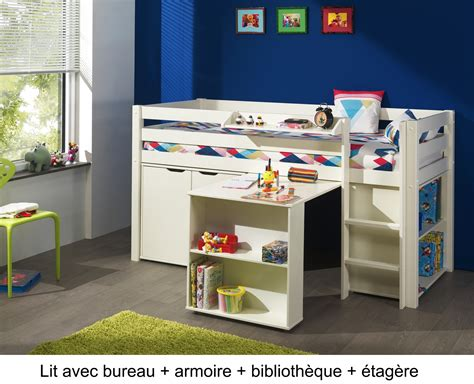 lit combiné bureau enfant lit enfant combin 233 bureau et rangement theo en pin massif