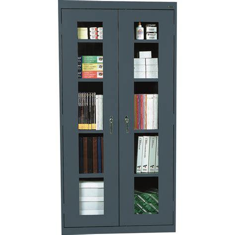 double door steel cabinet high dark gray steel cabinet with double glass doors and