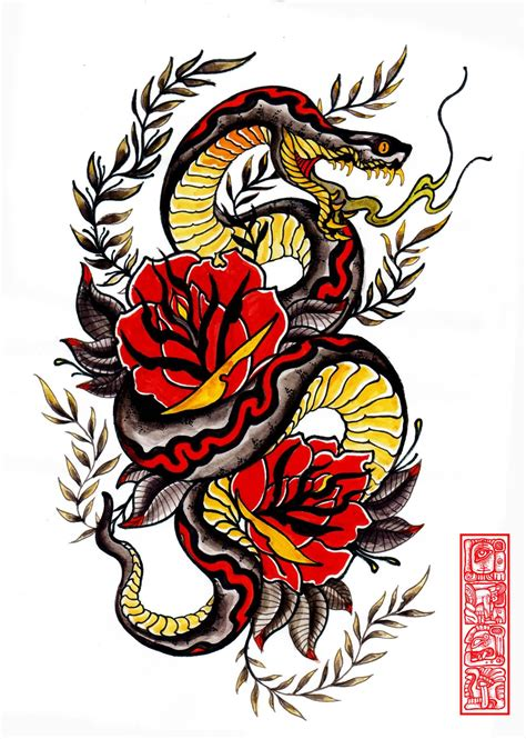 snake rose tattoo designs traditional colorful samurai skull with roses and snake