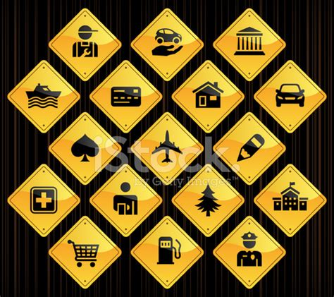 yellow road signs gps points of interest stock vector