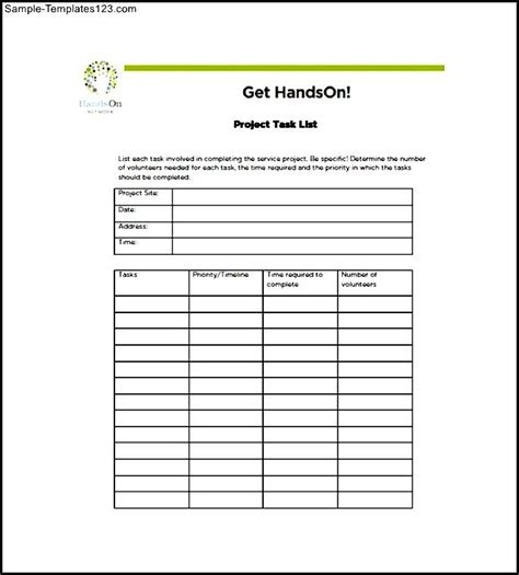 project management task list template sle templates