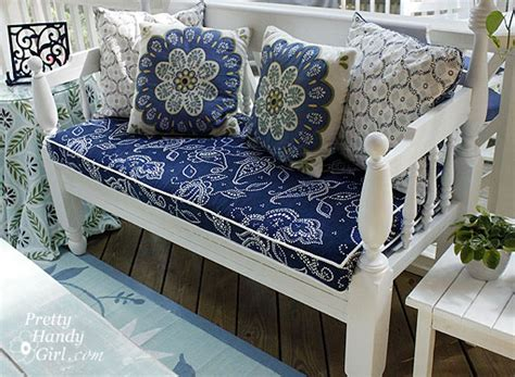how to make a bench seat cushion cover sewing a bench cushion with piping pretty handy girl
