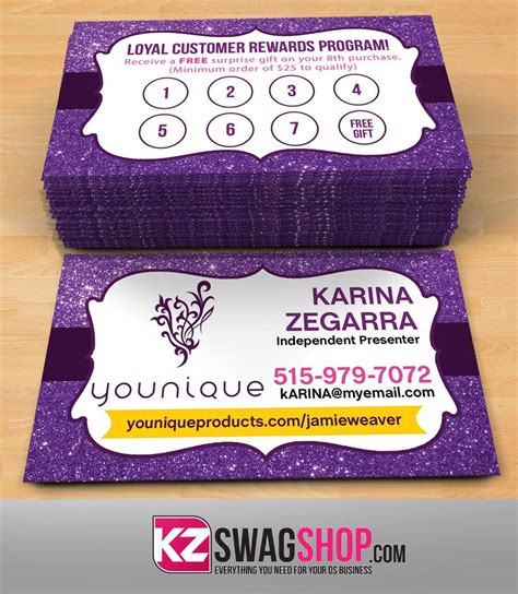 Visitenkarten Younique by Younique Business Cards Style 7 Kz Swag Shop