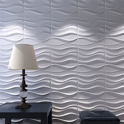 Decorative Panels 3d wall panels plant fiber white for interior decor 12 pcs