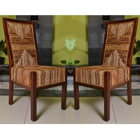 Dining Chairs Dallas International Caravan Set Of Two Dallas Abaca Weave Dining Chairs In Brown Mahogany Free Shipping