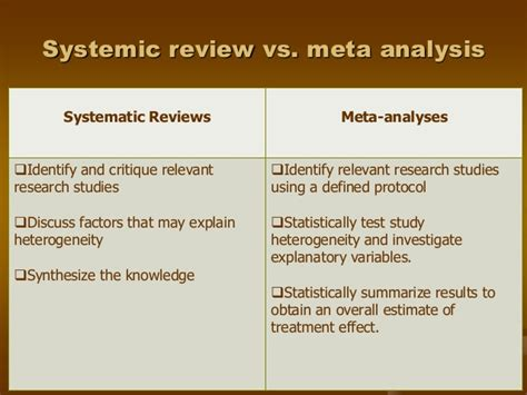Meta Analysis Vs Review Of Literature by Systematic Review Vs A Literature Review