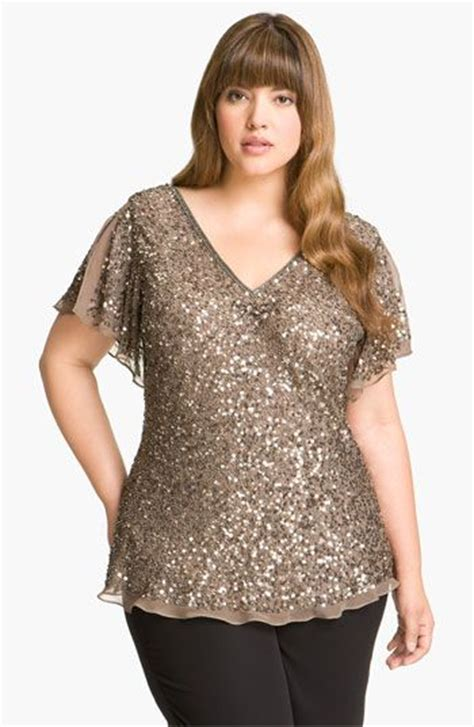 Blouse Big Size Gliter Bintang 4 Papell Sequin Chiffon Top Plus Available At