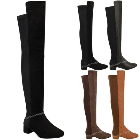 stretch thigh high boots new womens the knee flat boots calf