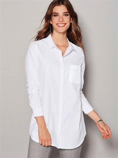 imagenes de camisas blancas para mujeres camisa mulher com bolso aplicado no peito em popelina
