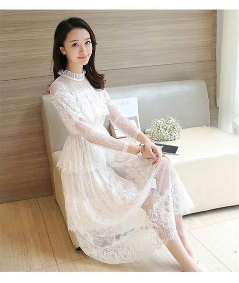 Dress Baju Korea Lengan Panjang Murah Kb075 dress brukat korea lengan panjang 2017 model terbaru