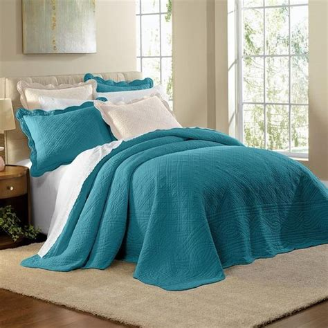 teal bedding queen detalhes sobre teal blue 100 cotton scalloped textured