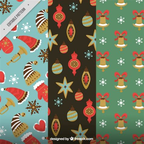 retro christmas pattern vector free vintage patterns of christmas elements vector free download