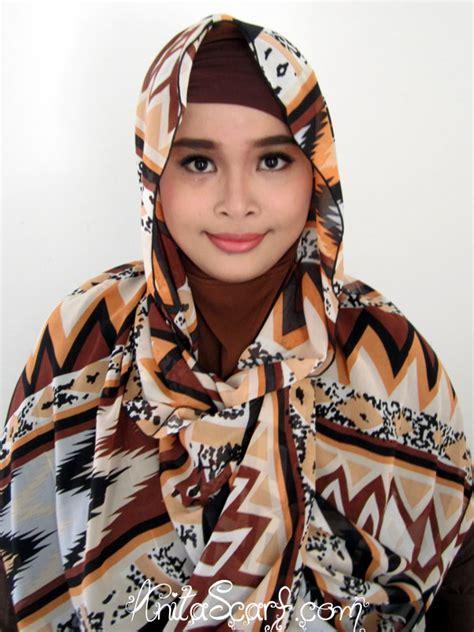 Etnik Scarf pashmina etnik coklat chiffon ceruty scarf