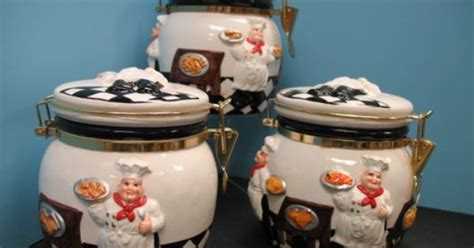 3d italian fat chef canister set kitchen decor bistro jar