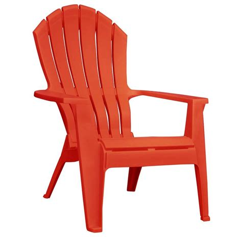 Shop Adams Mfg Corp Red Resin Stackable Patio Adirondack Patio Chairs Plastic
