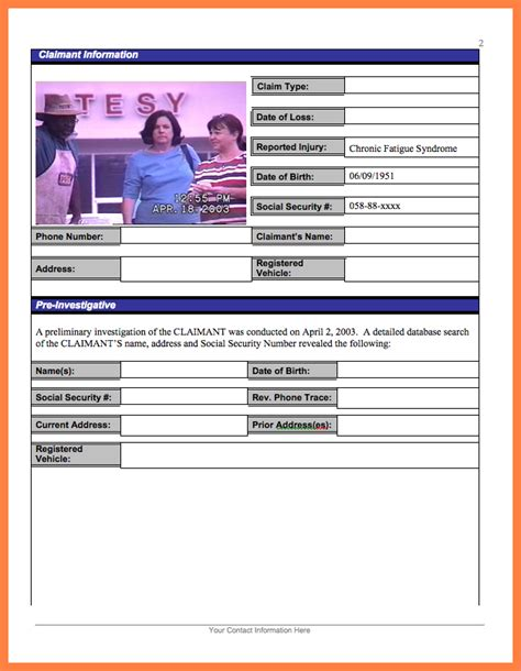 fraud investigation report template 5 investigator surveillance report template