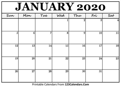 january  printable calendar calendarscom