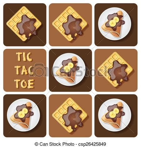 Gamis Wafle Crep eps vector of tic tac toe of crepe and waffle