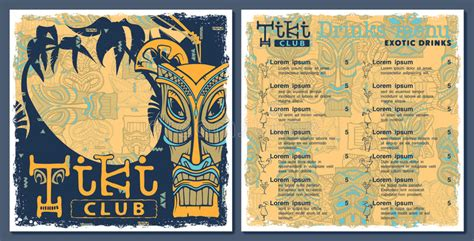 Tiki Bar Menu Template Tiki Bar Menu Stock Vector Illustration Of Cover Club 70053376