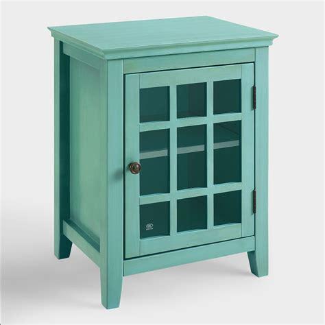 cabinet world antique turquoise single door storage cabinet world market