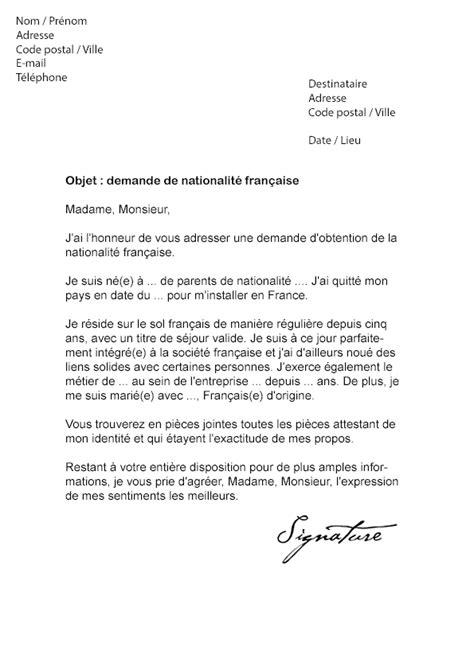 Lettre de demande de Nationalité française - Modèle de Lettre