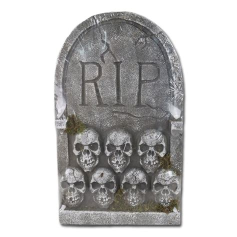 Outdoor Event Decoration Ideas Rip Tombstone With Skull 22in 356869 Trendyhalloween Com