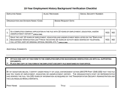 10 year background check form 9 employment history verification forms templates pdf