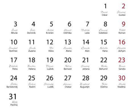 Calendar Names Name Day Calendar