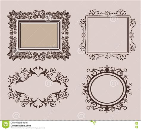 Wedding Album Borders by Wicker Lines And Decor Elements In Vector Vintage