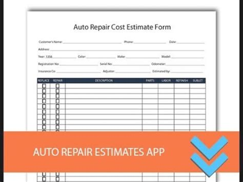 Auto Body Repair Forms Free Download Hardhost Info Auto Estimate Template