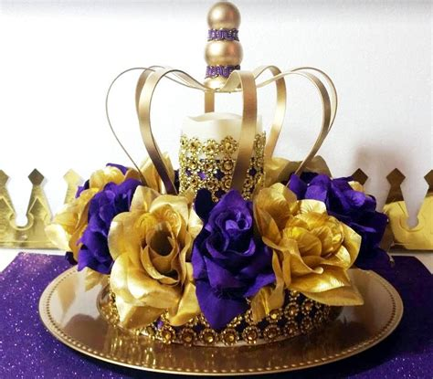 gold crown centerpieces new purple and gold baby shower crown centerpiece royal