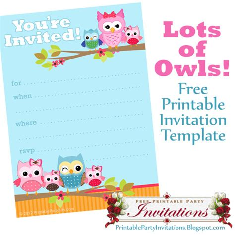 free printable invites templates free printable owls invitation a free