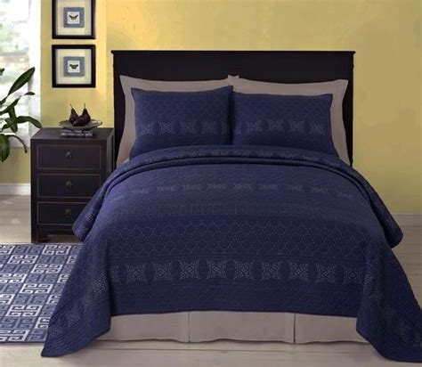 Navy Quilted Bedspread Blue Bed Quilt Cover Navy Blue Quilted Bedspread
