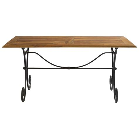 Wrought Iron And Wood Dining Table Solid Sheesham Wood And Wrought Iron Dining Table W 160cm Lub 233 Maisons Du Monde